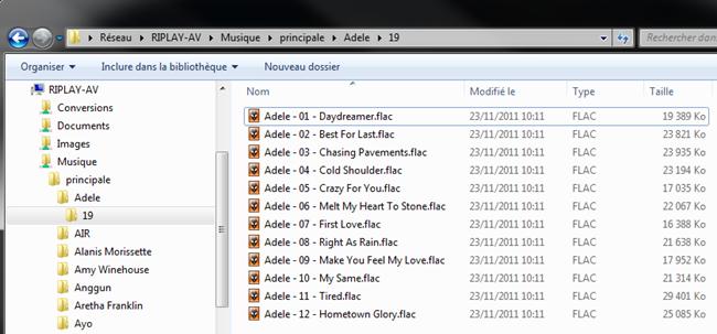 Arborescence des dossiers et des fichiers de la collection musicale stockée sur le Riplay Music Server