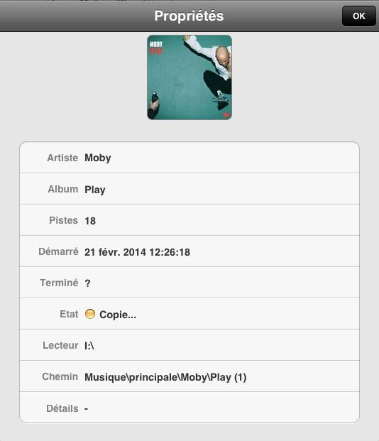 Détails des informations du CD copié sur l'iPad