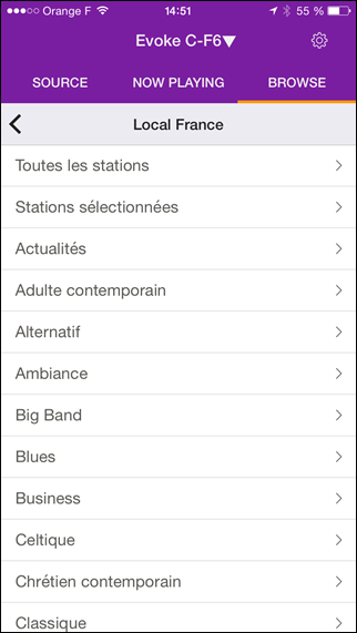 Application Pure Select : les radios par Internet