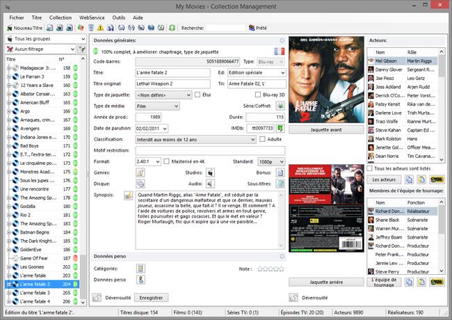 My Movies, logiciel de gestion de films DVD et Blu-ray sur le serveur Riplay Dipiom Media