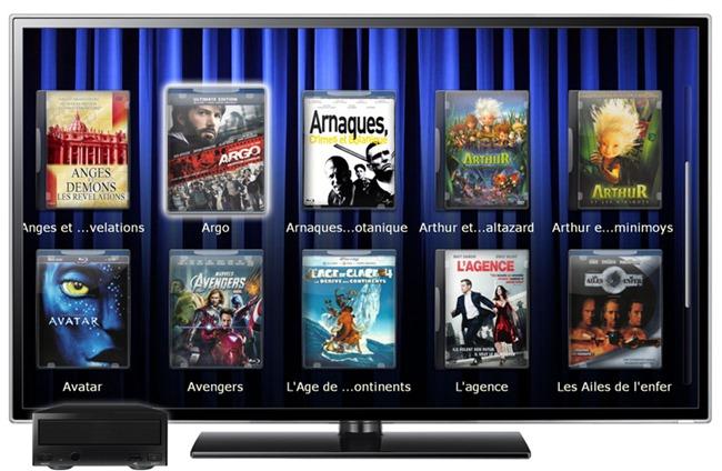 Filmothèque dématérialisée de DVD et Blu-ray sur TV avec lecteur multimédia