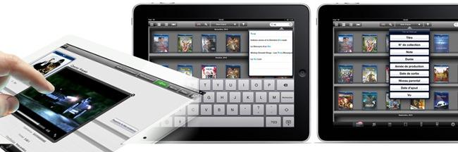 Consultation de la collection de films DVD et Blu-ray sur un iPad ou une tablette Android