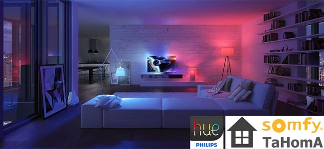 somfy et philips des objets connect s pour la domotique. Black Bedroom Furniture Sets. Home Design Ideas