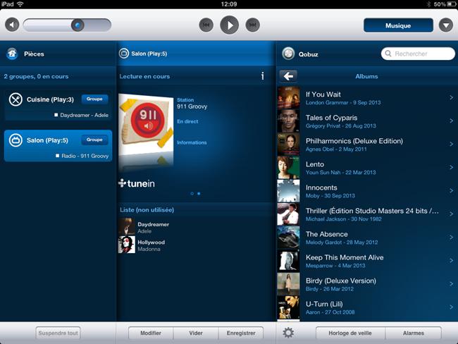 Application Sonos sur iPad avec le service de musique en ligne Qobuz