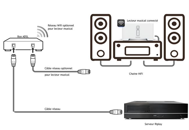 Schéma de branchemetn du lecteur réseau HiFi, du serveur et de l'équipement HiFi