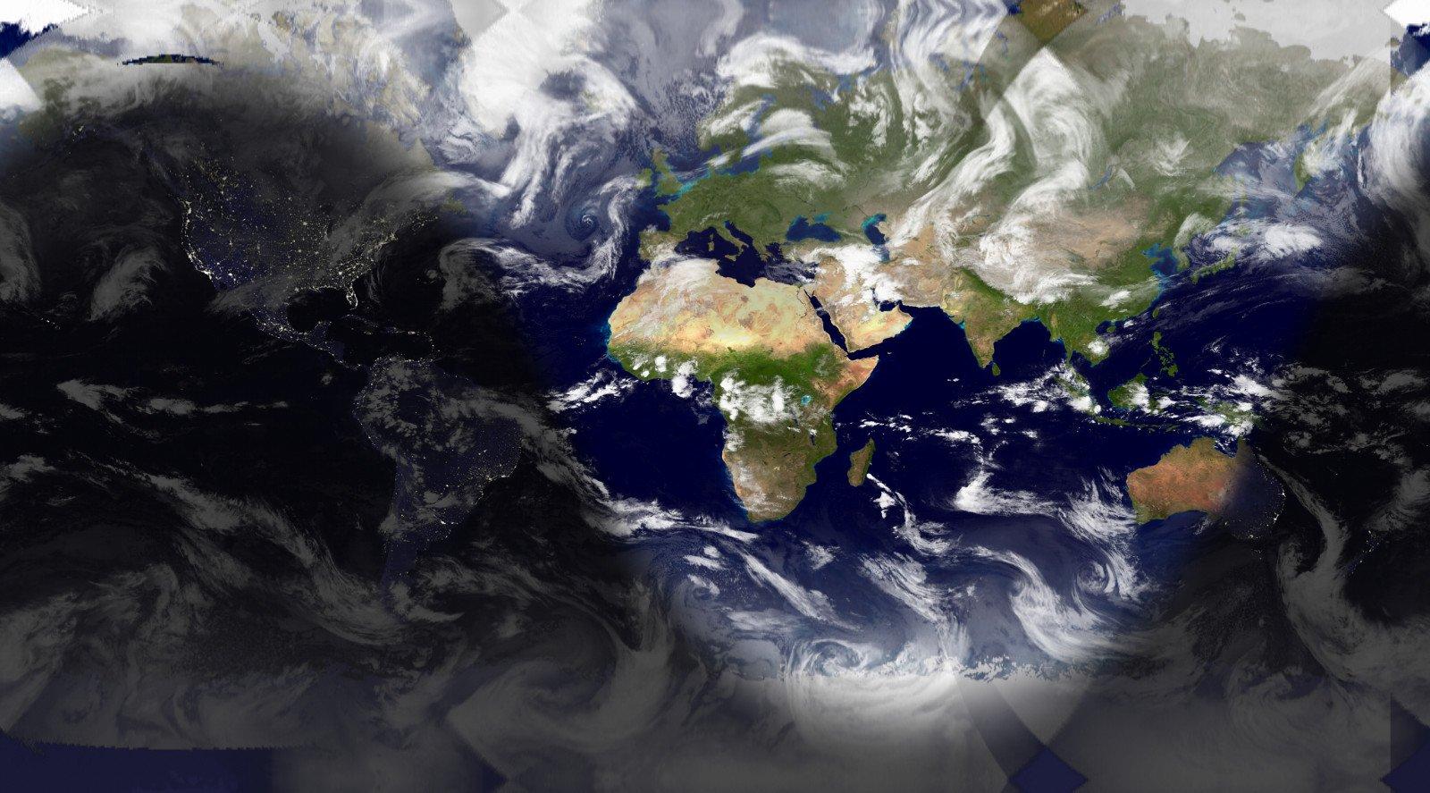Photo satellite en temps réel France, Europe, Monde avec position terre - soleil