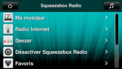 L'écran de contrôle sur une Squeezebox
