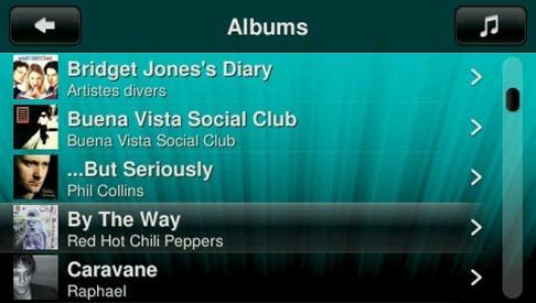 Squeezebox Touch, liste des albums
