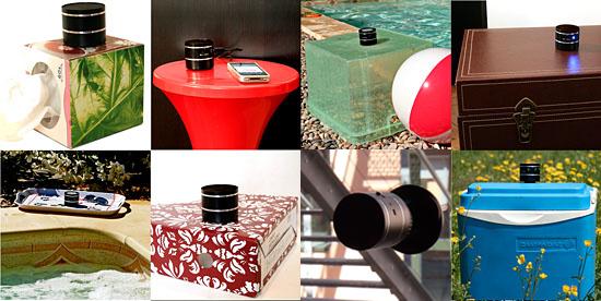 Exemple d'utilisation du ViBoomer sur des objets et des surfaces différentes