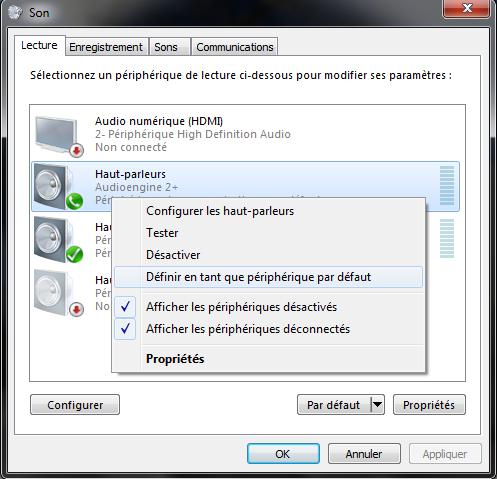 Sélection du DAC Audio USB Audioengine comme carte son par défaut