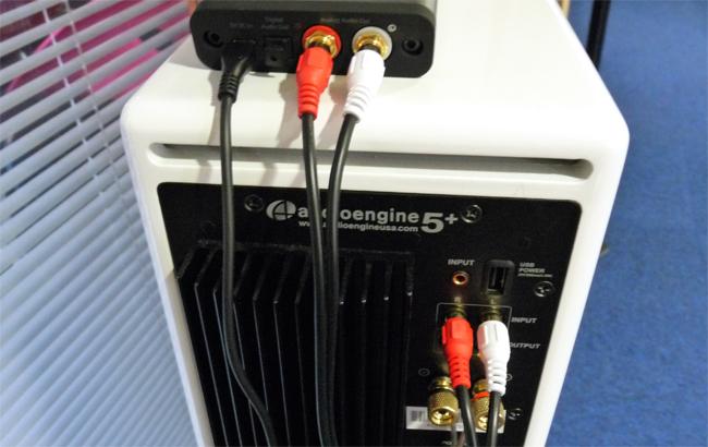 Exemple de branchement du récepteur Bluetooth B1 sur des enceintes amplifiées