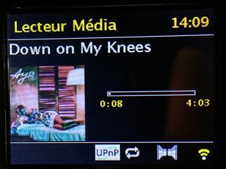 Affichage de la lecture en cours avec le pochette de l'album audio au format MP3