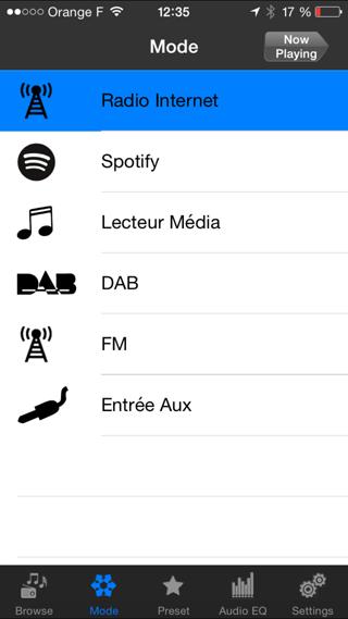 Sélections des différents modes du poste de radio depuis l'application nomade sur le téléphone