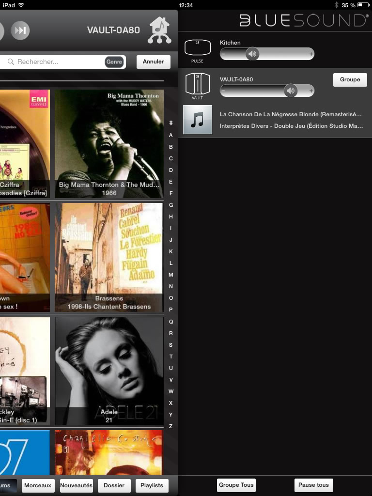 Application iPad multiroom audio Bluesound