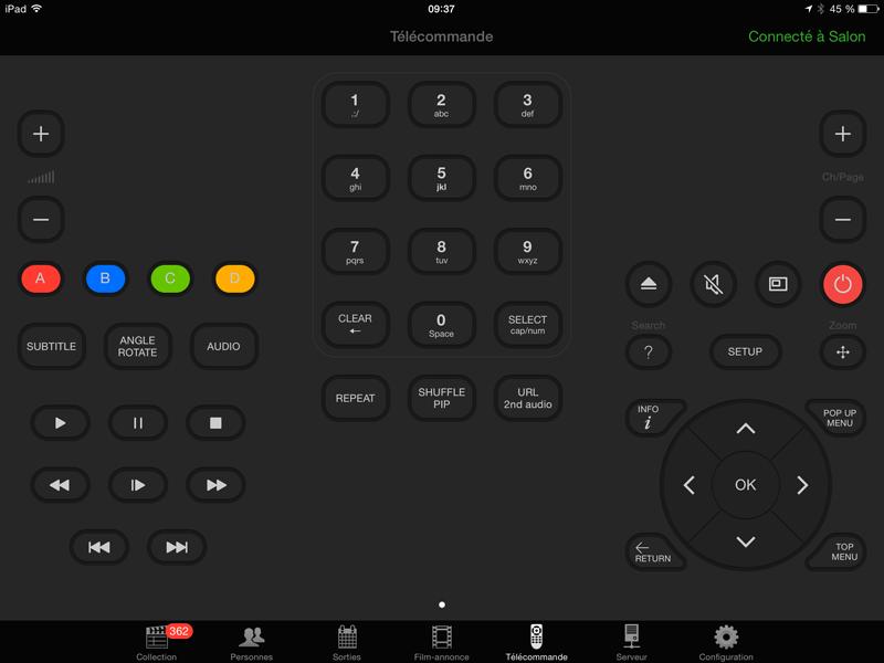 Télécommande WiFi pour lecteur Dune t Windows media Center depuis l'application My Movies