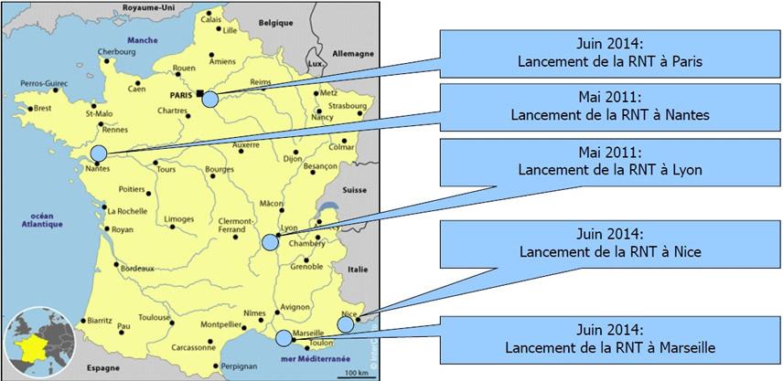 Couverture géographique de la RNT en France