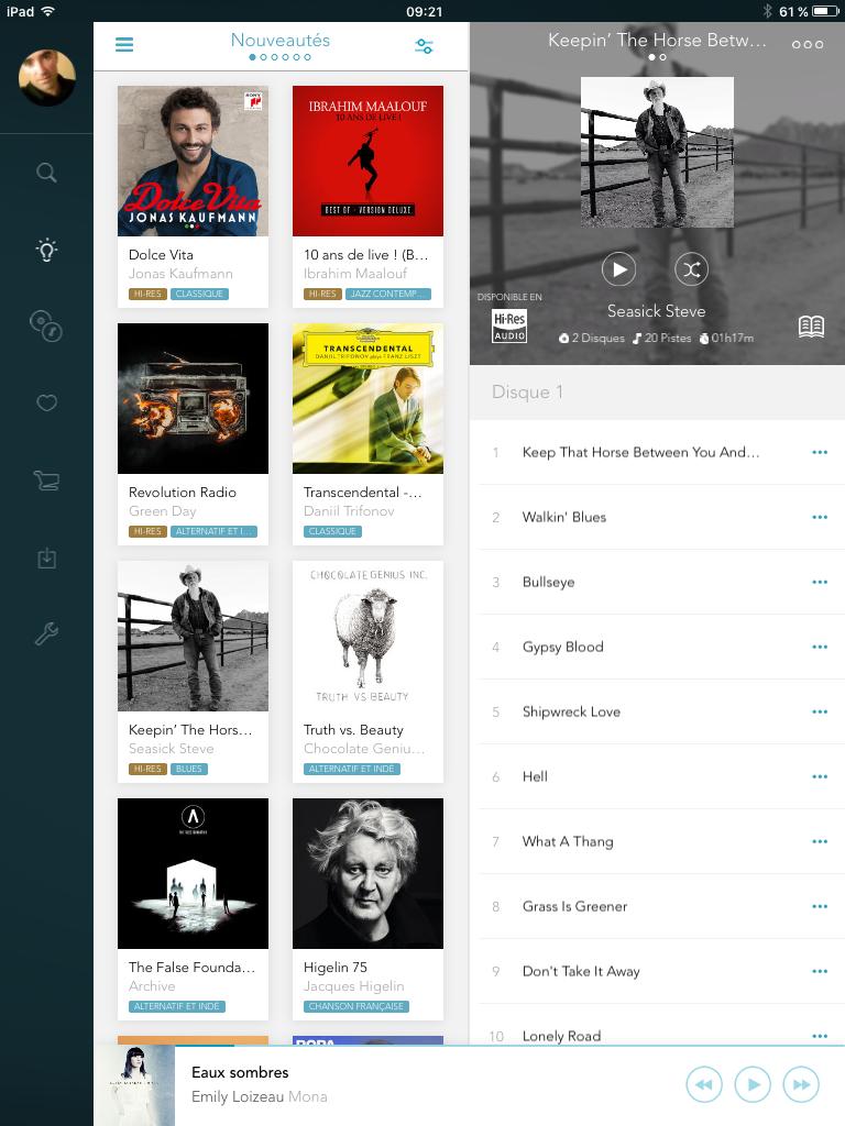 App Qobuz - Navigation en trois colonnes sur l'iPad