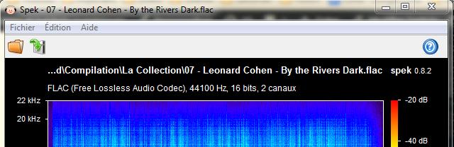 L'outil Spek vous permet de retrouver le format de votre titre audio