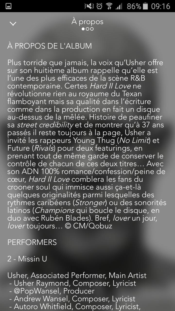 """Album CD Qobuz : le """"a propos"""" (partie 1)"""