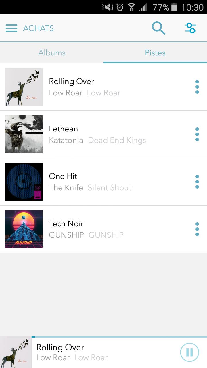 Liste des pistes de musique achetées