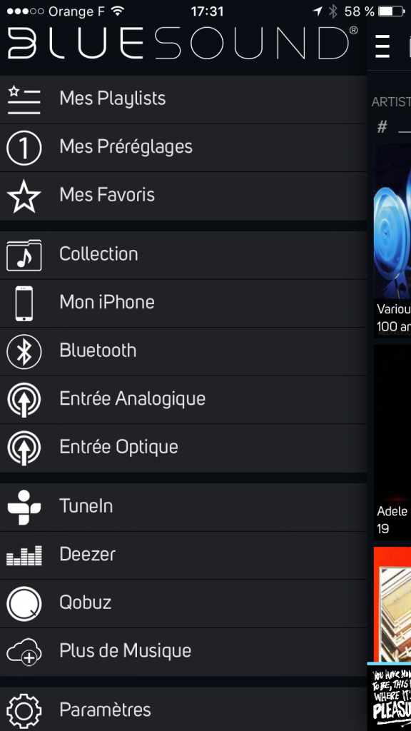 Pilotage de la barre de son depuis l'application Bluesound depuis un iPhone, un iPad ou Android