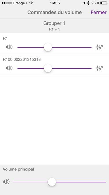 Réglage du volume sonore de chaque enceinte ou globale de la zone