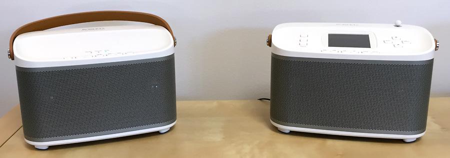 Ecouter la musique sur deux enceintes sans fil et stéréo - Roberts R-Line R100 et R1
