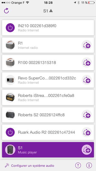 Choix du poste de radio Internet ou de l'enceinte réseau sans fil à piloter depuis l'applicaiton Undok