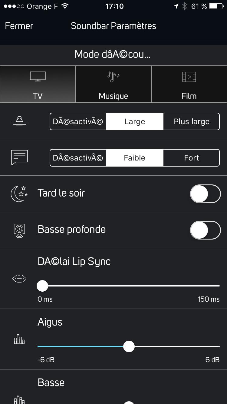 Réglages de la barre de son en mode télévision