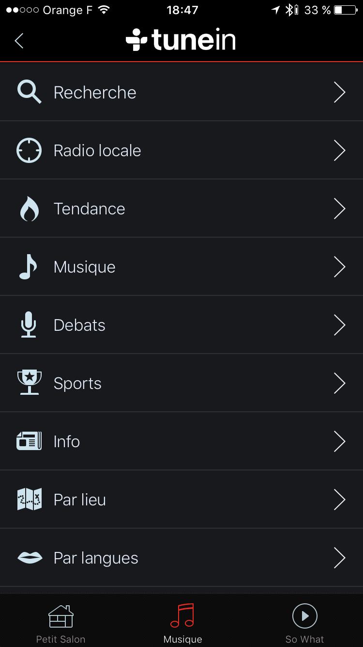 Ecouter toutes les radios Internet sur l'enceinte réseau WiFi par le portail TuneIn