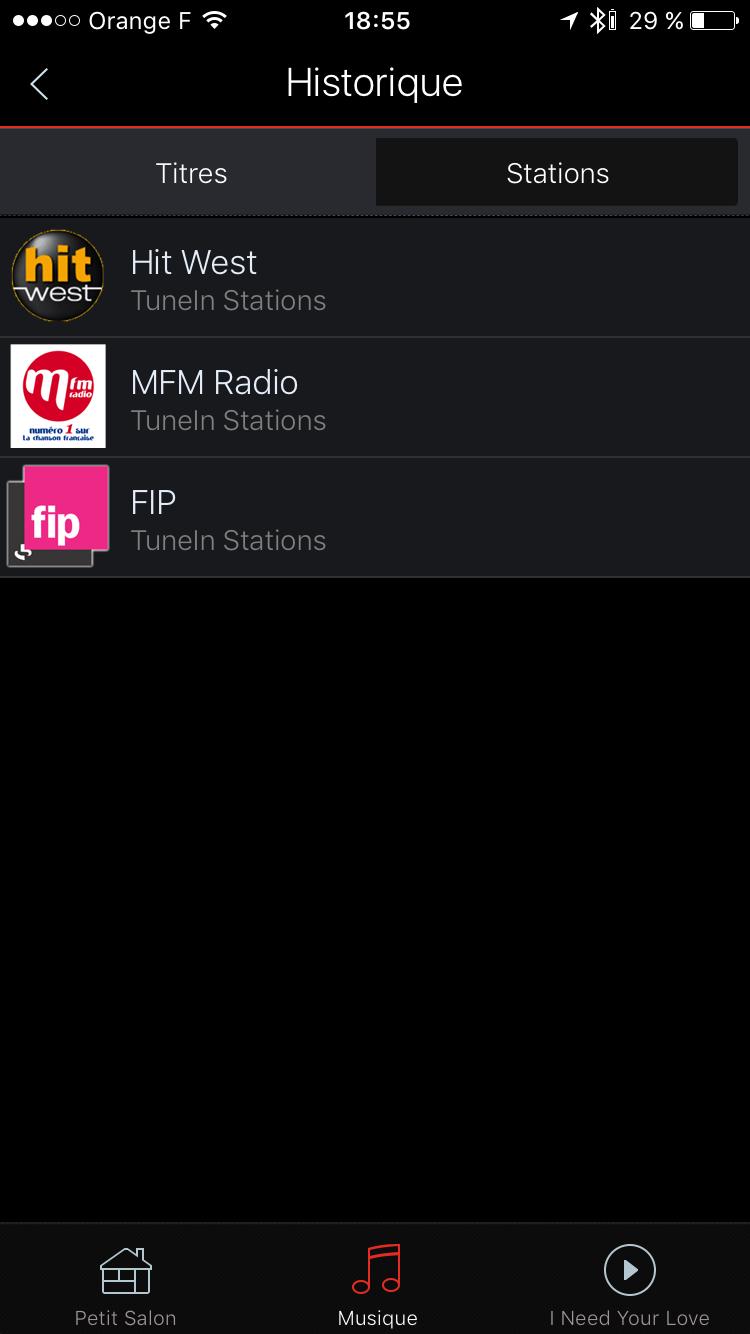 Historique des écoutes des stations radio par Internet sur l'enceinte HEOS 5