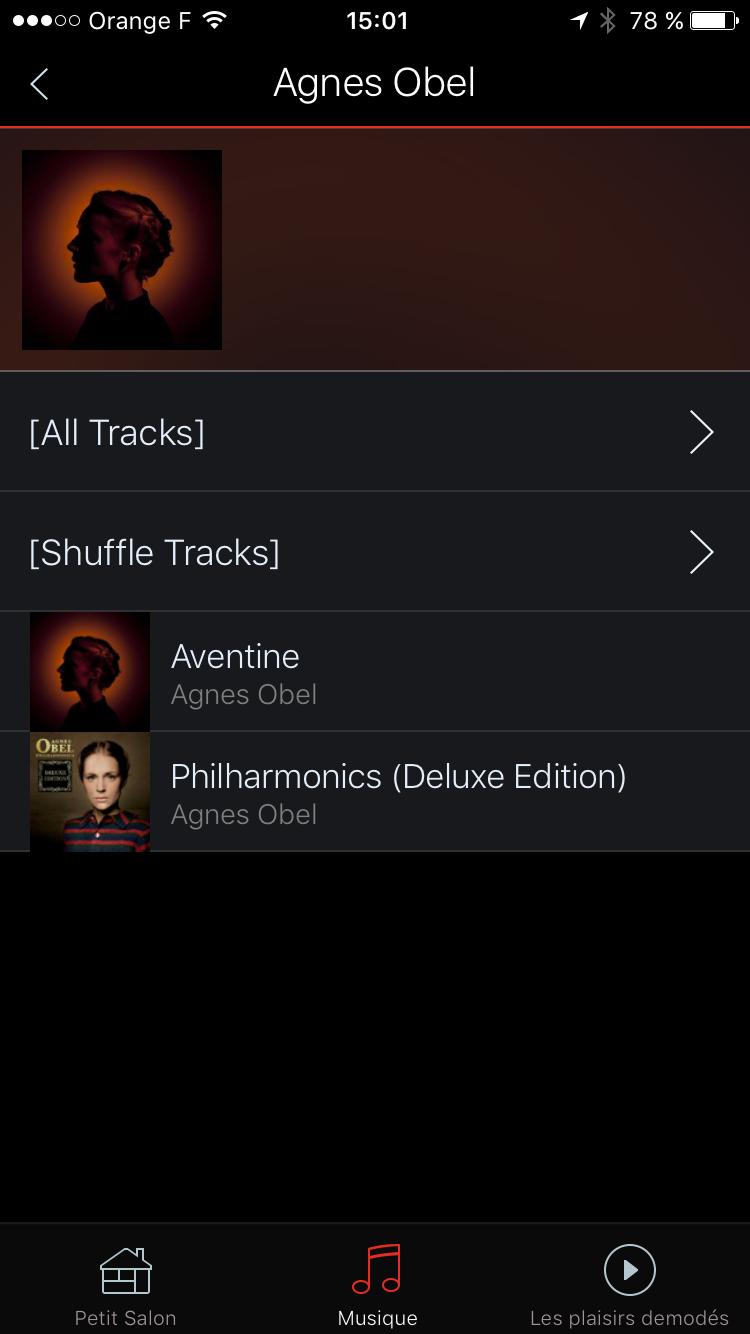 Navigation par artiste parmi les albums de la collection de musique dématérialisée