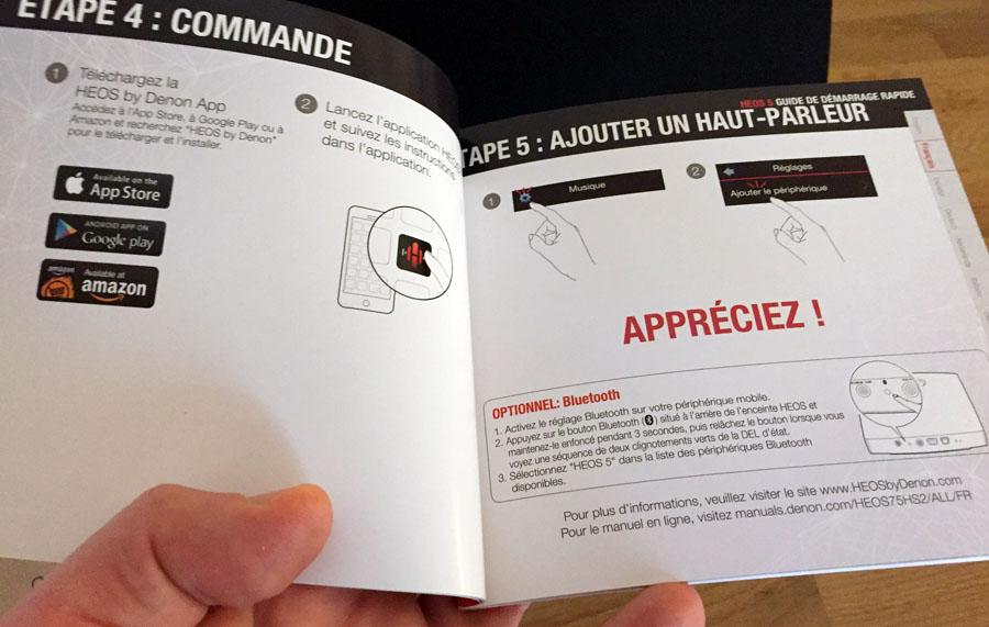 Un guide d'installation en français et sur papier fourni par Denon