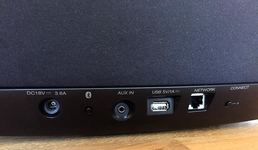 Les connectiques audio et réseau de l'enceinte DENON HEOS 5