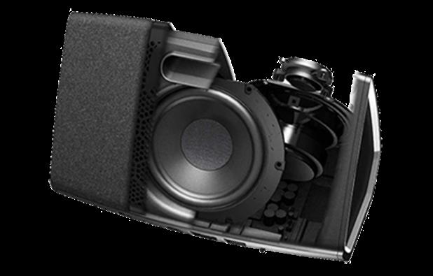 Enceinte wifi Denon HEOS 5 et son radiateur passif pour le grave