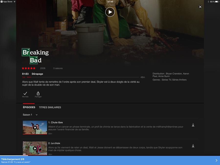 Netflix, lire des épisodes TV sans connexion Internet
