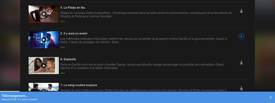 Netflix télécharger un épisode de séries TV sur l'iPad depuis l'application