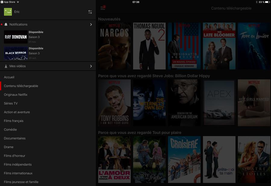 Netflix, trouver les films à télécharger depuis l'application iPad
