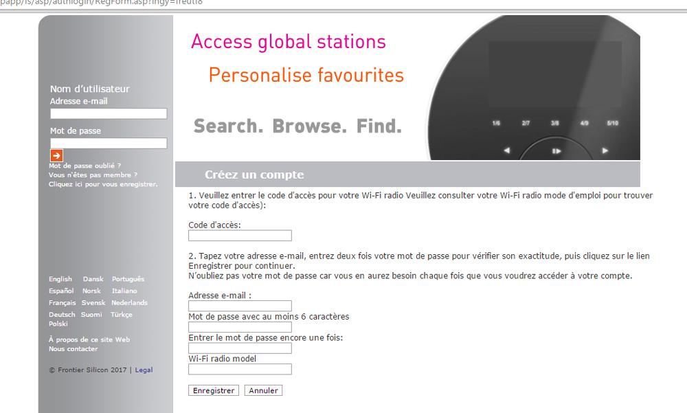 Se créer un compte sur WiFi Radio Frontier