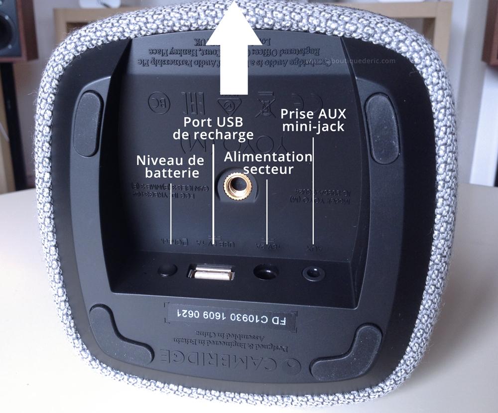 Les connectiques de l'enceinte YOYO (M) se trouvent sous l'appareil