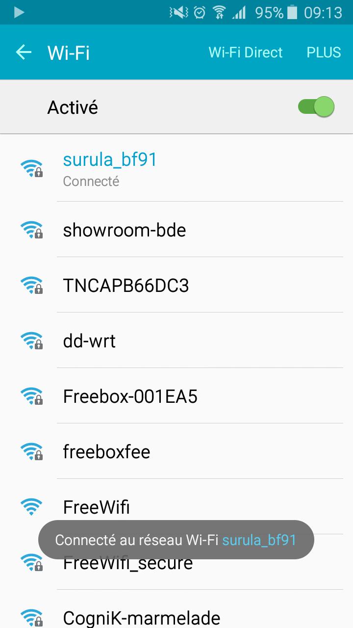 Choisir le réseau Surula OKTO pour se connecter à l'appareil