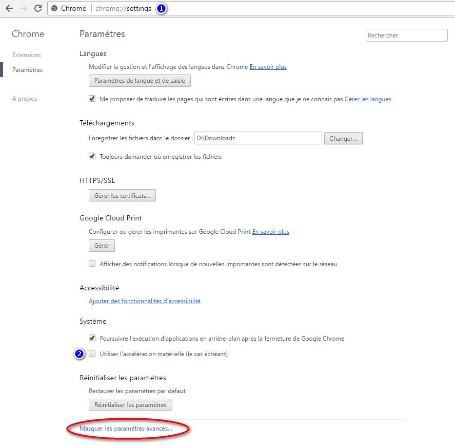 Corriger bug sous Chrome dans Windows 10 : Ne pas utiliser accélération matérielle