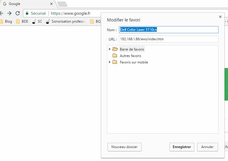 Boite de dialogue pour modifier un favori sous Chrome dans Windows 10