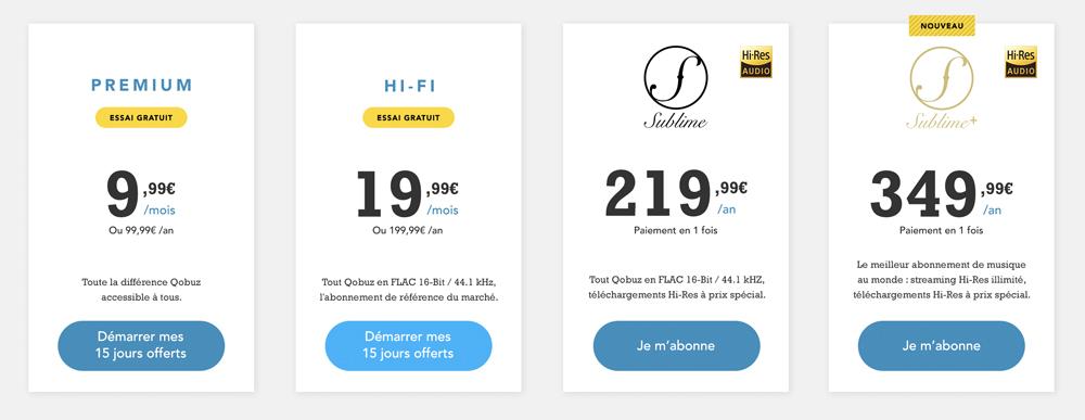 Les différentes offres Qobuz en 2017