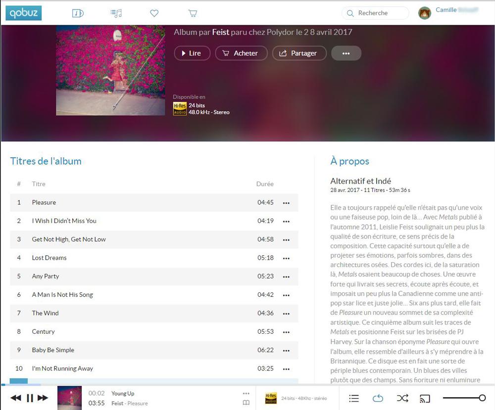 Web Player Qobuz - Des informations complètes sur l'album