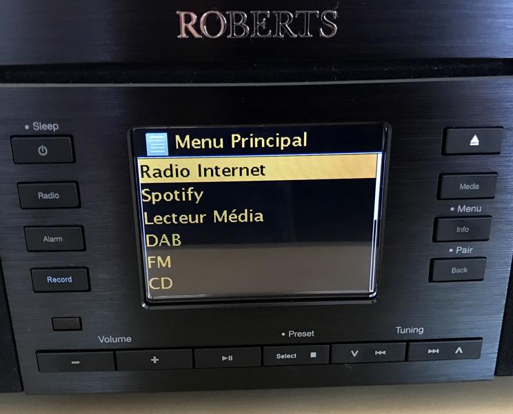 Les différentes sources audio numérique proposés par le Roberts Stream 65i