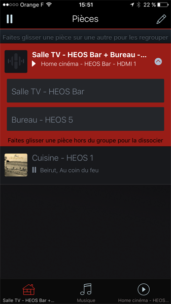 Diffusion du son de la TV sur une enceinte complémentaire WiFi Denon HEOS 5