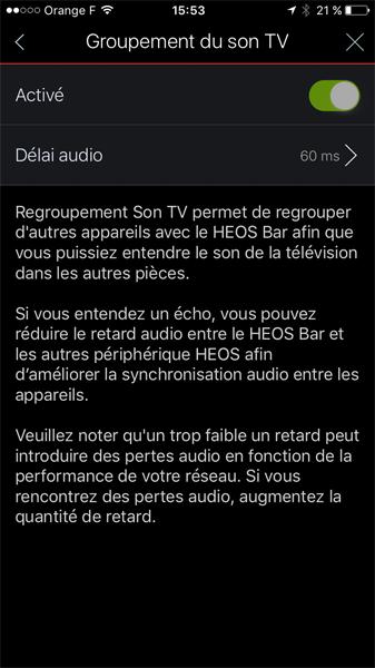 Fonction de groupement du son TV par la barre de son et des enceintes HEOS