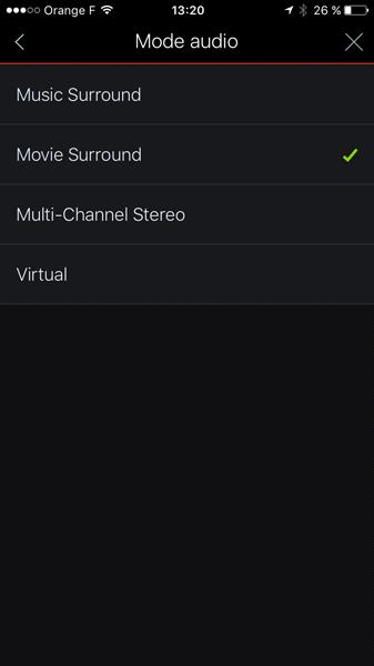 Choix des modes de rendu sonore : pour la musique, pour la TV ou pour le cinéma