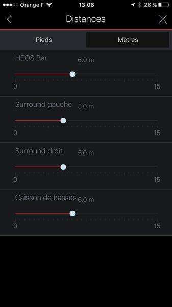Réglages des distances des haut-parleurs par rapport au spectateur